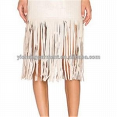 Womens Leather Skirt With Tassel