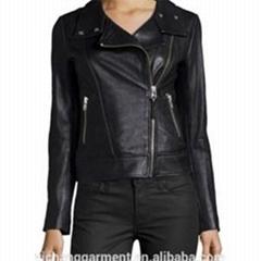 Women Biker Jacket With Front Zipper