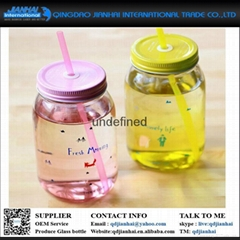Plastic mason jars with handle lid and straw