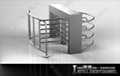 Waist Height Rotating Turnstile with Fence( single double aisle)