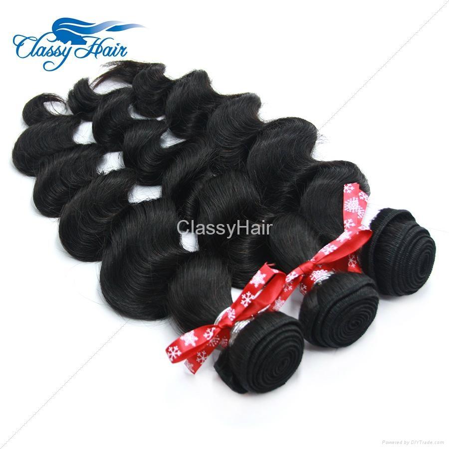 Brazilian Loose Wave Human Hair Weaving Bundle Loose Curly Weft Hair Large Stock 2