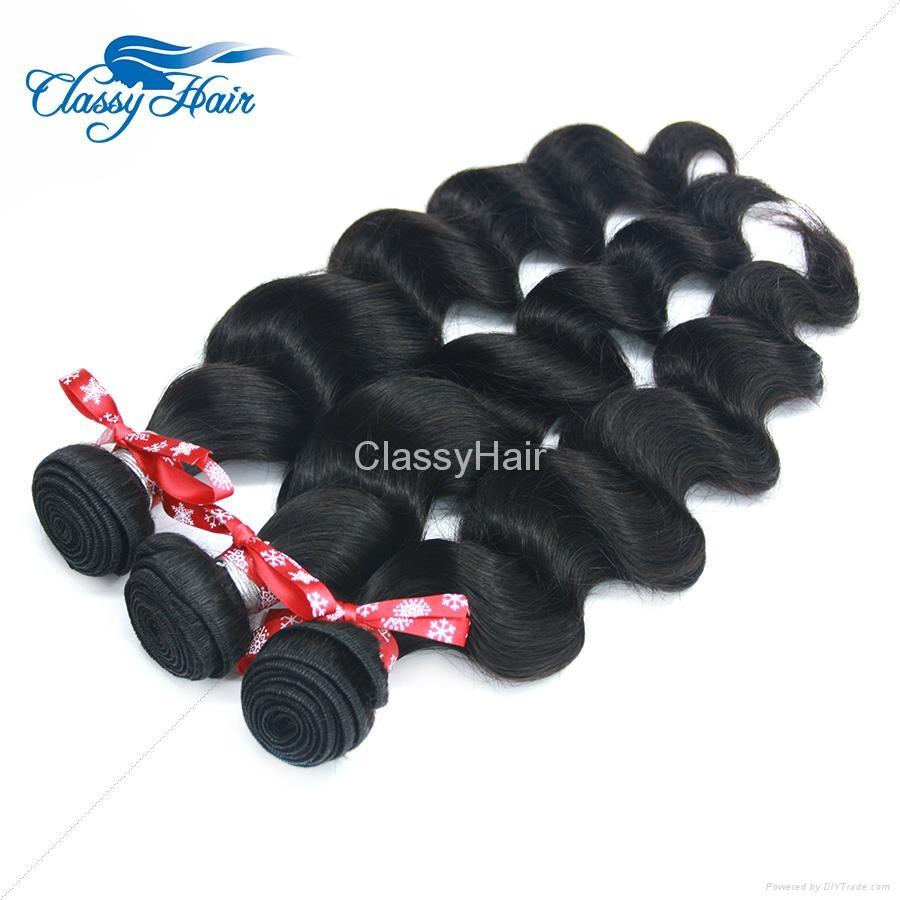 Brazilian Loose Wave Human Hair Weaving Bundle Loose Curly Weft Hair Large Stock 3