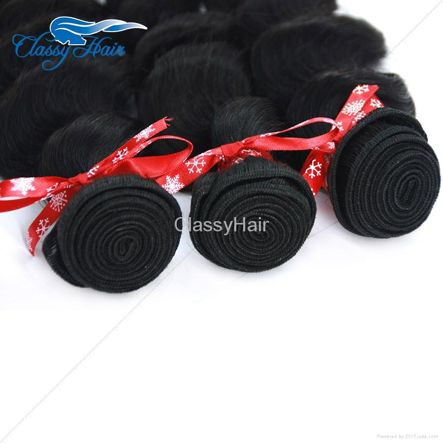 Brazilian Loose Wave Human Hair Weaving Bundle Loose Curly Weft Hair Large Stock 4