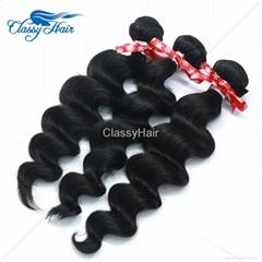 Brazilian Loose Wave Human Hair Weaving Bundle Loose Curly Weft Hair Large Stock