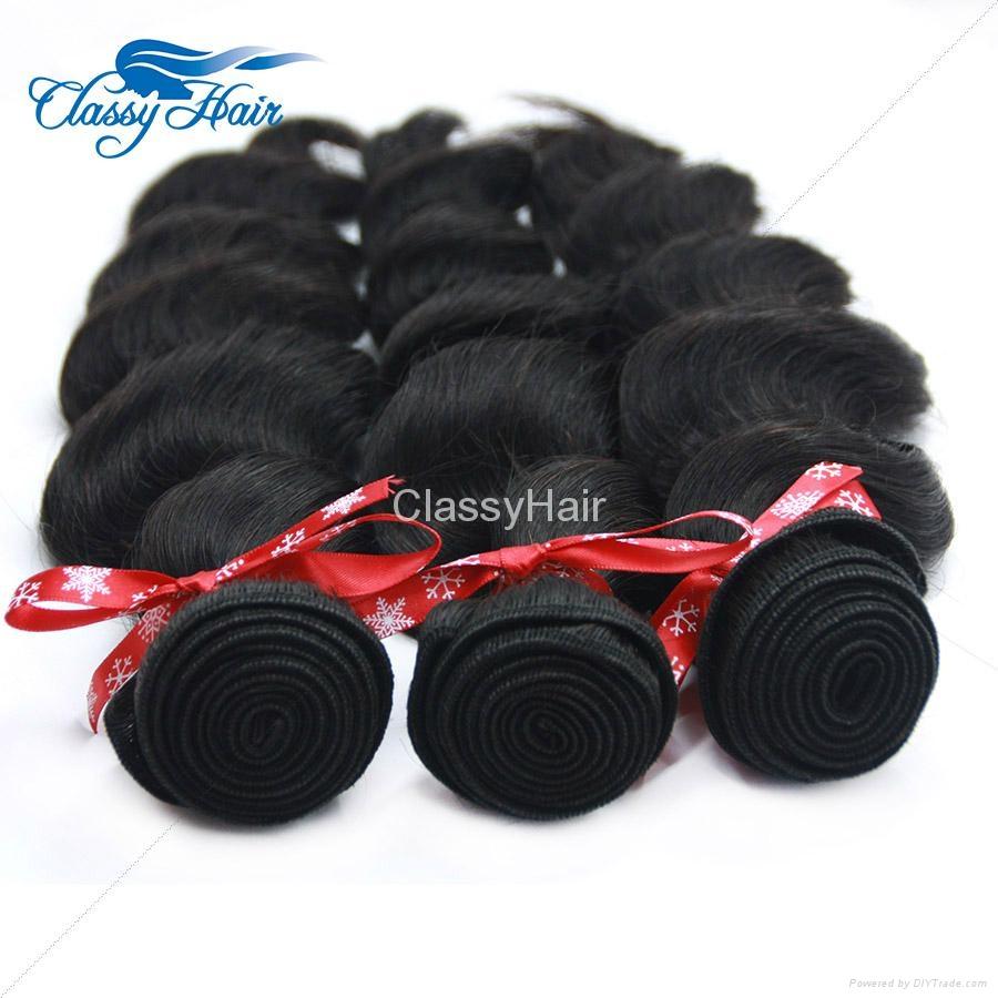 Brazilian Loose Wave Human Hair Weaving Bundle Loose Curly Weft Hair Large Stock 5