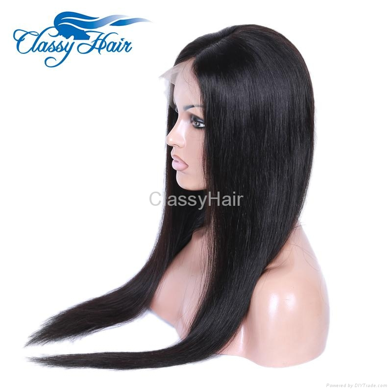 Unprocessed Straight Brazilian Full Lace Human Hair Wigs with Baby Hair 3