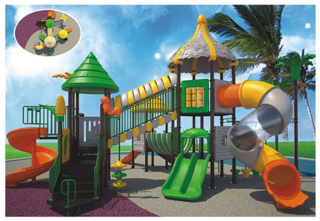 Outdoor playground equipment Combined slides 3
