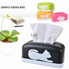 rectangular Plastic facial tissue napkin box toilet paper dispenser case holder