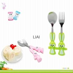 cartoon 2 Pieces Stainless Steel Coffee Spoon Fork Dinnerware Set Children Table