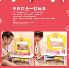 Wooden children kitchen play set toy