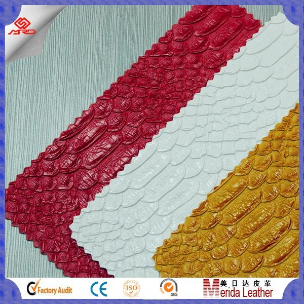wholesale scale pattern pvc faux embossed leather fabric for making bags 5
