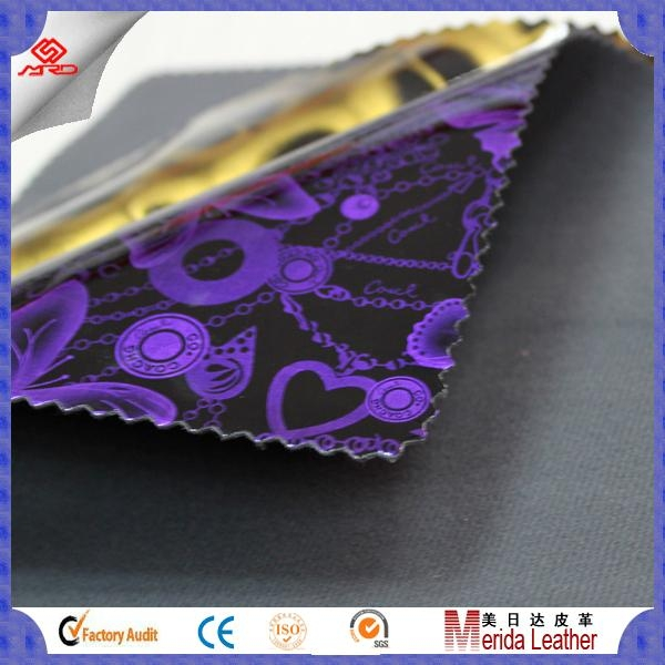 High gloss smooth surface pvc synthetic leather fabric for making bags 2