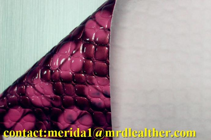MRD50024 high gloss stone pattern embossed pvc artificial leather for bags 3