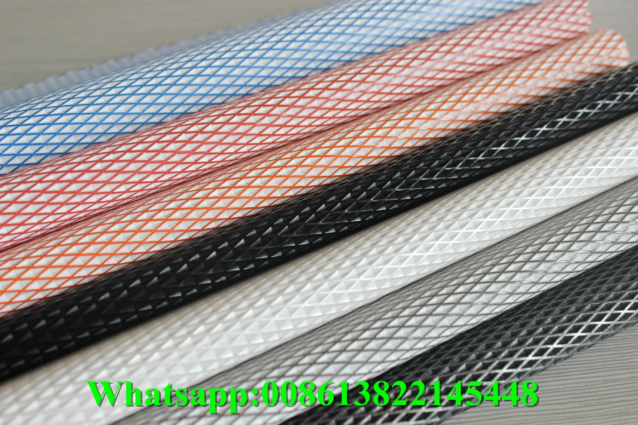Guangzhou new design rhombus pattern embossed pvc synthetic leather fabric for u 1