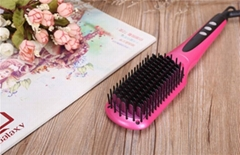 2016  Pink Electric Hair Straightening Brush with Coating