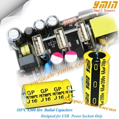 High stability GP aluminum electrolytic capacitor for portable USB chargers