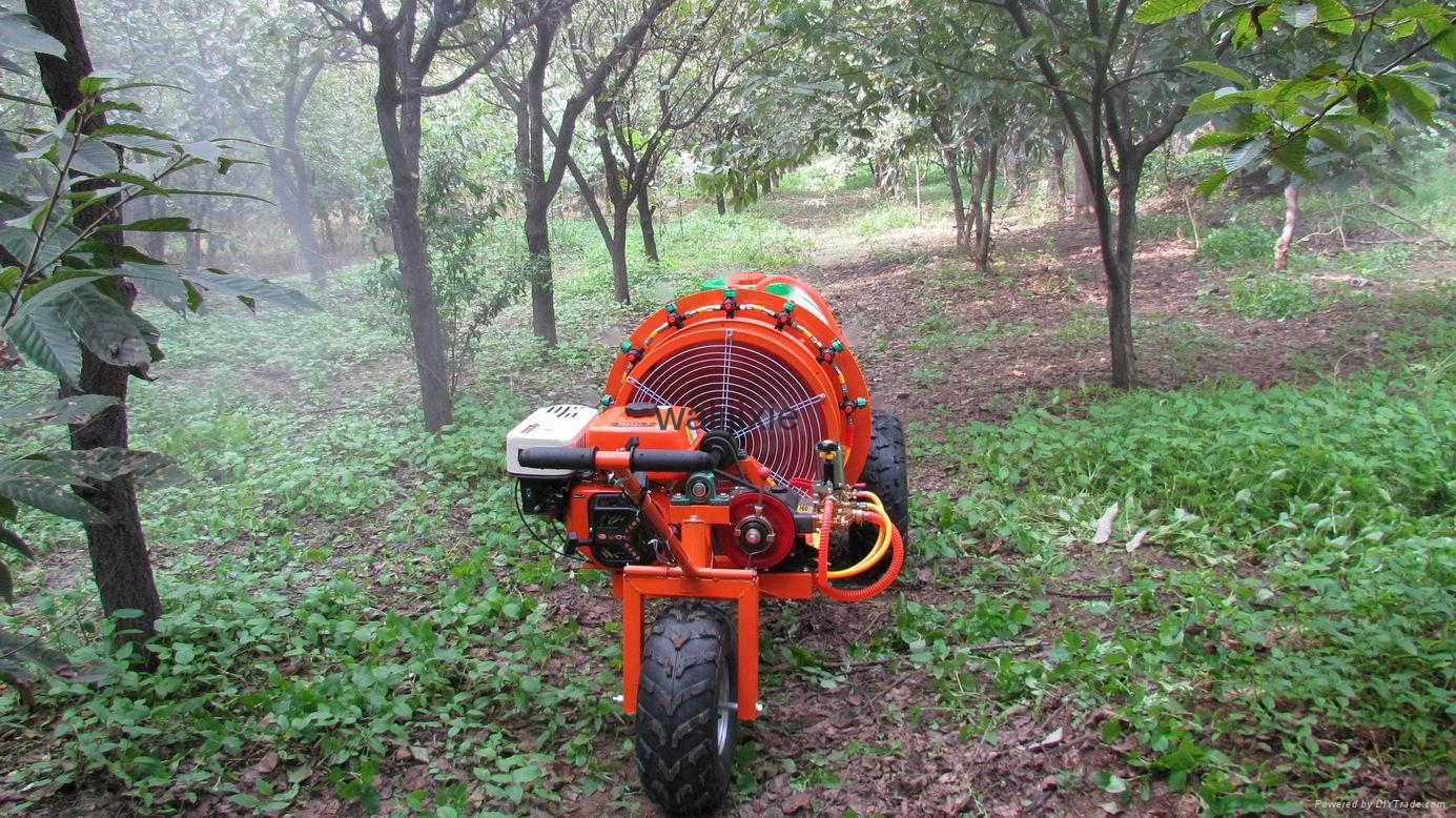 three wheel garden air blast power sprayer