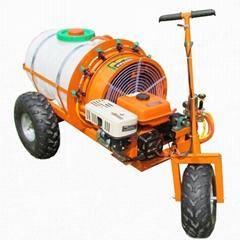 Mini wheel type gas engine air blast sprayer