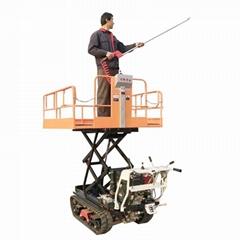 迷你履帶汽油液壓昇降果園多功能工作平台