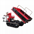 Mini crawler type orchard truck dumper with lift container 4