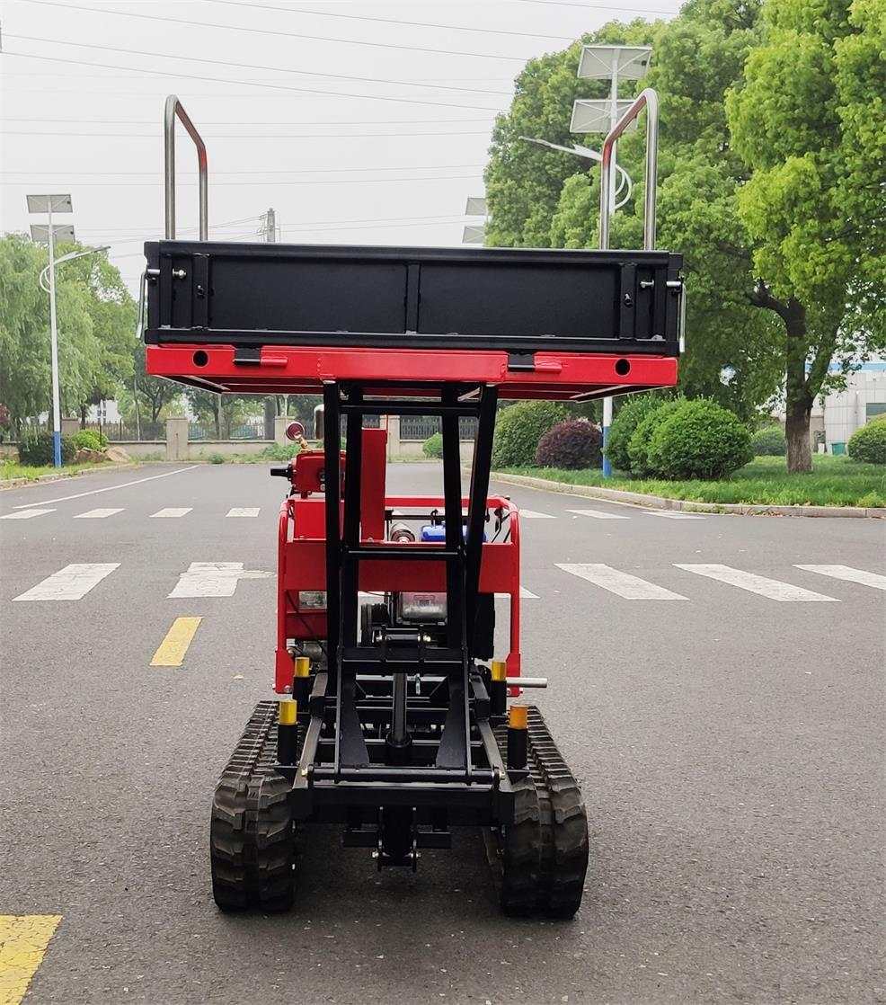 Mini crawler type orchard truck dumper with lift container 6