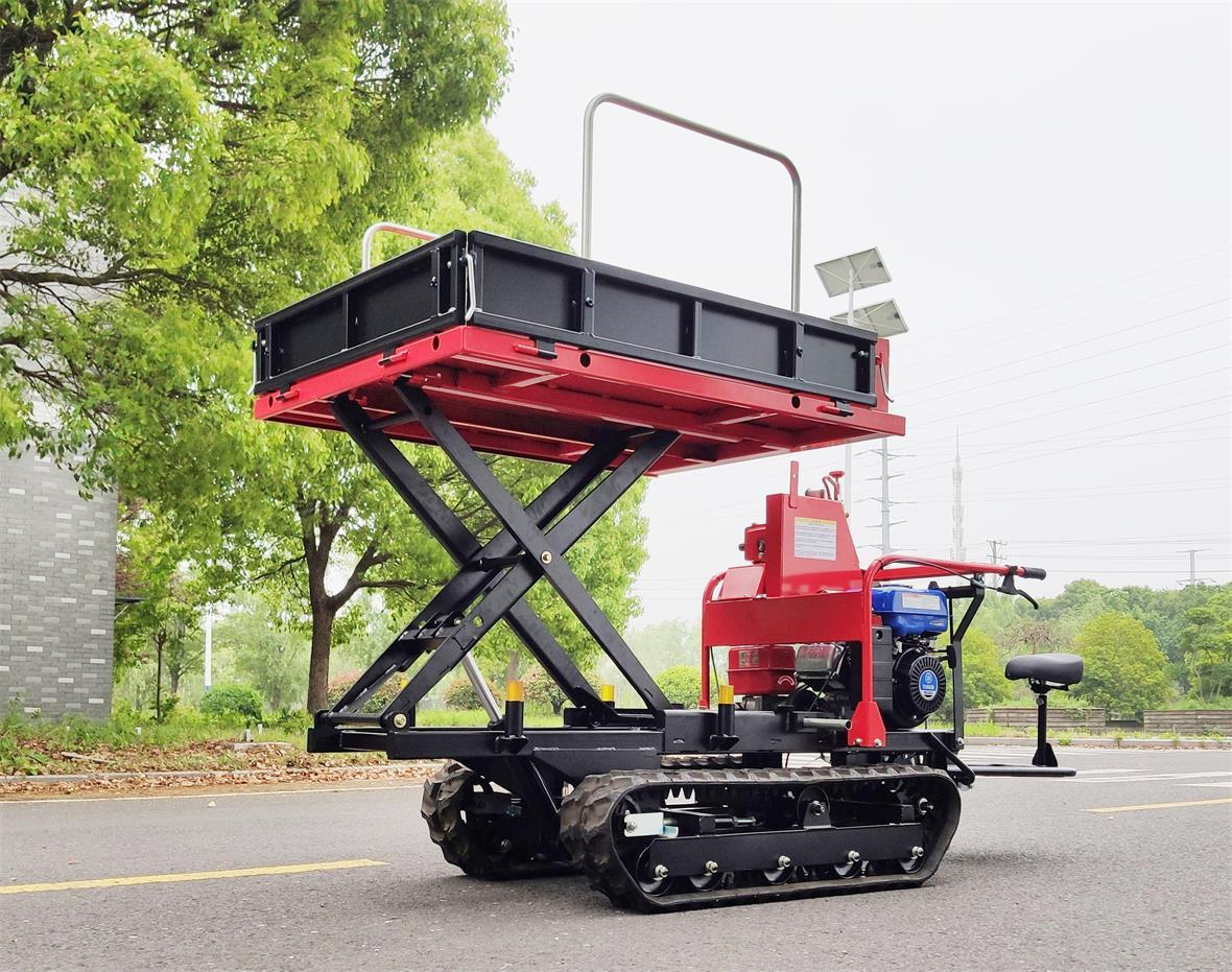 Mini crawler type orchard truck dumper with lift container 7