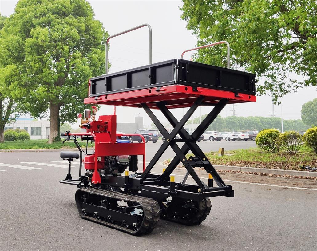 Mini crawler type orchard truck dumper with lift container 8