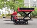 Mini crawler type orchard truck dumper with lift container