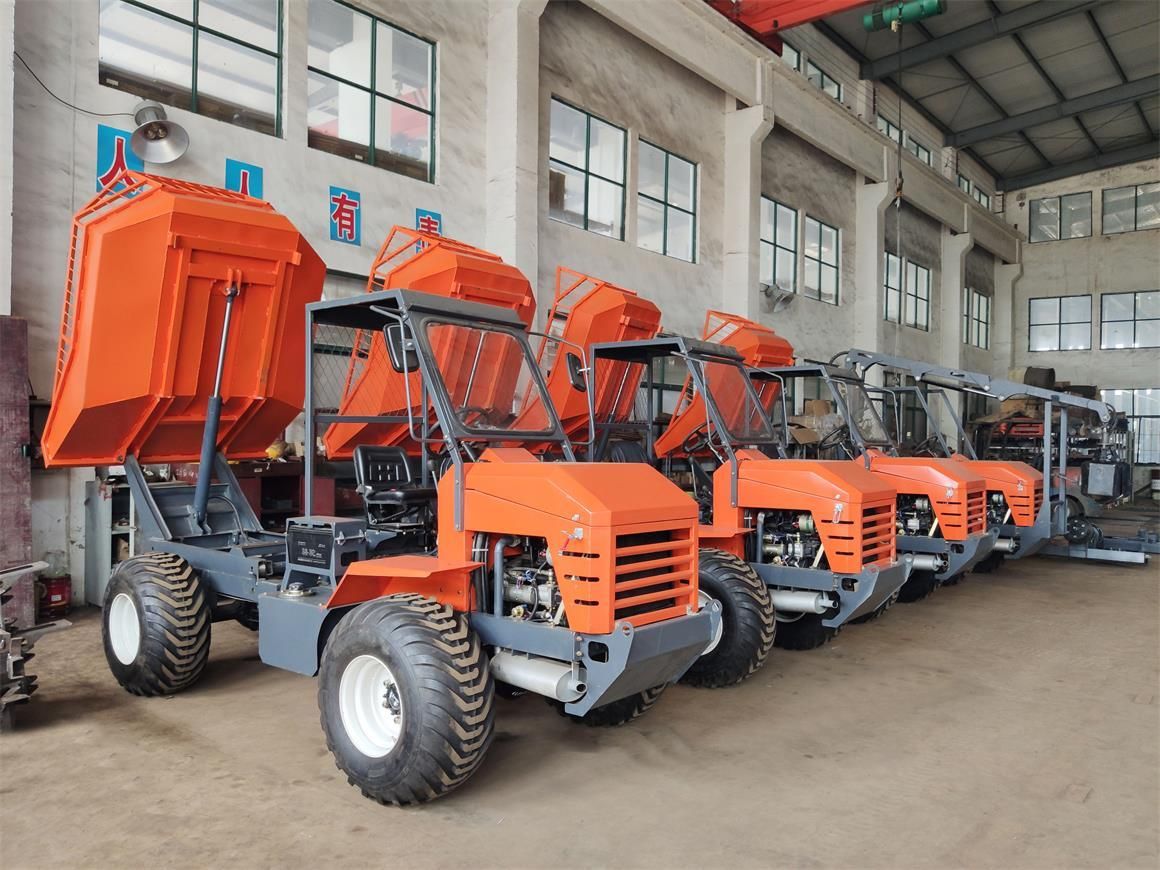 Palm garden transport tractor for muddy forests and