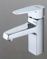 Square Chrome Polished Basin Mixer Faucets