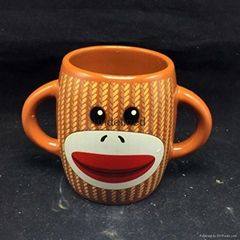 Double handles Childern Ceramics Mugs with Glazed Color for Promotional or Gift