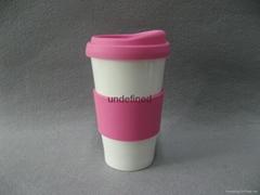 Promotional Custom Travel Ceramic Lock coffee Mug with Silicon grid/Lid