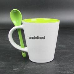 Promtional ceramics Coffee Mug with Spoon