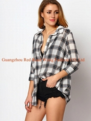 Long sleeve checked shirt for women