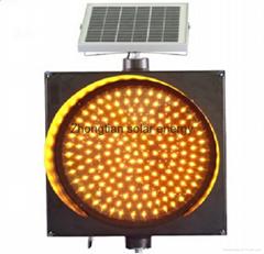 Best price 400mm solar LED Amber Warning Light solar traffic light