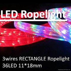 hot sale 3 wires rectangle LED rope light for household/commercial/project