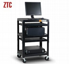Multilayer media utility cart with laptop shelf