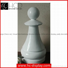 Hunchew Display Large Fiberglass Chess Set White Fiberglass Pawn in Height 62cm