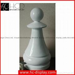Hunchew Display Large Fiberglass Chess Set White Fiberglass Pawn in Height 62cm