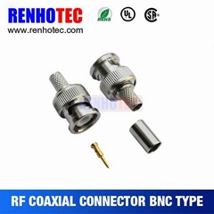 crimp male bnc connector for cable joints rj11 bnc coaxial connector
