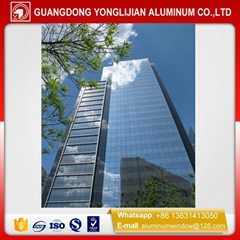 China glass exposed frame curtain wall aluminum profile manufacturer