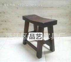 碳化實木古典彎面凳