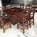 方形火锅实木餐桌品艺碳化餐厅家具火锅餐桌订做