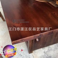 方形火鍋實木餐桌品藝碳化餐廳傢具火鍋餐桌訂做
