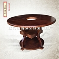 品艺圆形实木桌椅碳化餐厅家具订