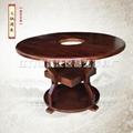 品艺圆形实木桌椅碳化餐厅家具订做批发