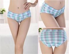 3Pcs/3Colors Gift Box Plaid Cotton Panties Women Panties Women Underwear Pure Co