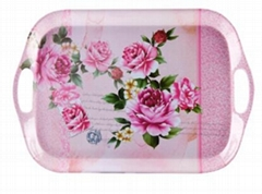 "14""DOUBLE HANDLE MELAMINE TRAY"