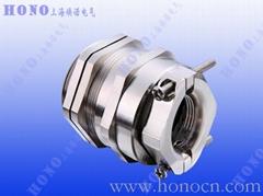 上海煥諾電氣HONO雙鎖緊黃銅鍍鎳電纜接頭