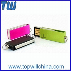 Tiny Mini Metal Swivel Pen Drive with Free Logo